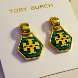 Tory Burch green hexagon logo drop earrings